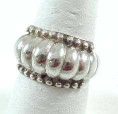Vintage 925 Sterling Silver Etched Ball Dome Shrimp Ring Size 7 (6g) - 375093 in Jewelry & Watches, Jewelry & Watches | eBay