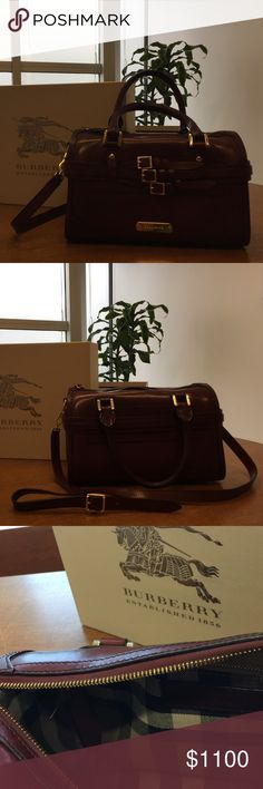 Burberry Prorsum-bridle leather medium bowling bag near-new burberry medium bowling bag in red claret! comes with detachable/adjustable shoulder strap, dust bag, and original box. inside with classic burberry stitching-has zipper pouch with authentic burberry label on one side, the other side has two spacious pouches. Burberry Bags Totes
