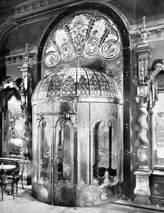 Porch of the Cafe New York in Budapest, Hungary. Designed by the architects Béla Lajta and Ödön Lechner in 1902.