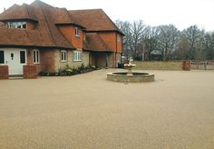 Resin Bound Gravel Driveway in Chesil colour, Billingshurst, West Sussex installed by Clearstone Resin Bound Gravel, Resin Bound Driveways, Front Driveway Ideas, Driveway Design, Gravel Driveway, Garden Beds, Cottage, Colour, House Styles
