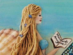 Beach Decor Mermaid Wall Hanging. Blonde Hair by MidorisMyMuse