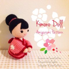 The Japanese Kimono Doll pattern and tutorial will show you how to make a beautiful, little doll wearing a traditional kimono. My dolls name is Kumiko (beautiful child), and she loves all things pink and floral! Kumiko is quiet but very friendly, always wearing a sweet smile and understanding