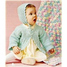 Baby Nursery Knit Crochet Patterns Afghans Christening Sets Booties +
