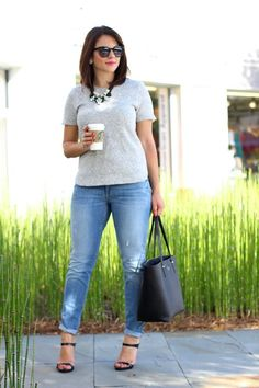 Loft Jeans, relaxed skinny jeans for Fall, layered statement necklace,