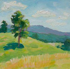 """Lynda's Backyard by Anne Pfeiffer Oil ~ 6"""" x 6"""""""