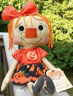 Happy Fall Annie Handmade Primitive Raggedy Ann by raggedyjaynes