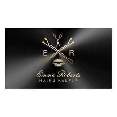 Makeup Artist Hair Stylist Black & Gold Metallic Business Card