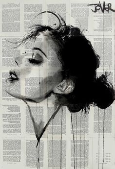Buy Prints of ever, a Ink on Paper by LOUI JOVER from Australia. It portrays: Women, relevant to: jover, loui jover, contemporary, drawing, ink, book pages ink on vintage book pages adhered together to make one sheet ready for framing as desired
