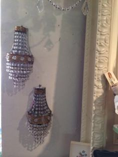 "Beaded French Style Sconces  5"" Wide x 13"" high   $395  Country Garden Antiques 147 Parkhouse  Dallas, TX 75207"