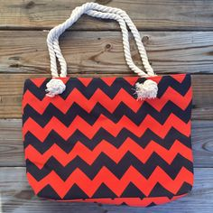 Excited to share the latest addition to my #etsy shop: Navy & Orange Chevron Canvas Tote Bag