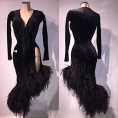 Classic sleek black Latin dress with asymmetrical hemline decorated with feathers - VESA