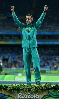 Silver medalist, Jared Tallent of Australia, poses on the podium during the medal ceremony for the Men's 50km Race Walk on Day 14 of the Rio 2016 Olympic Games at the Olympic Stadium on August 19, 2016 in Rio de Janeiro, Brazil.