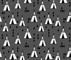 Teepees - Charcoal by Andrea Lauren by andrea_lauren, click to purchase fabric