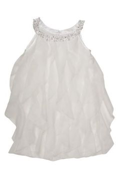 s Once Upon A Princess Dress in Ivory - A necklace of pearls and sparkly jewels embellish the front of this flattering shift dress with fluttery netting ruffles. Perfect for parties, weddings or any time the occasion calls for pretty. Girl Outfits, Cute Outfits, Ruffles, Ivory, Princess, Spring 2014, Biscotti, Pretty, Parties