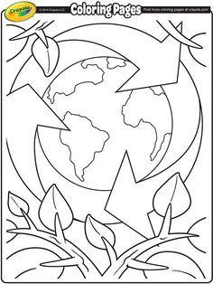 Earth recycling coloring pages.
