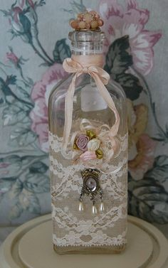 Beautiful shabby chic bottle