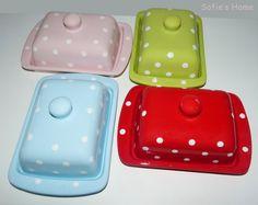 Landhaus Punkte Polka dots Keramik Butterdose  von Sofie's Home auf DaWanda.com  Butter dish - polka dots - ceramic - handpainted - handmade from Sofie's Home