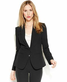 DKNYC Faux-Leather-Collar Blazer - Blazers - Women - Macy's