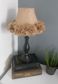DYI burlap lampshade-  Kyli, this made me think of you.  You would love her whole blog.