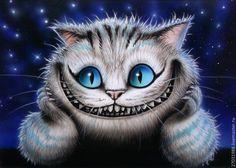 Купить или заказать Картина - Чеширский кот под звездным небом. Светится в темноте в интернет-магазине на Ярмарке Мастеров. Ручная авторская роспись в технике аэрографии, кисти и выцарапывания. По твердому основанию из ламинированного ДВП стандартного размера. С креплением на стену, без рамки. Краска стойка к прямым солнечным лучам и мытью. Картина светится в темноте с постепенным затуханием до 8 часов. Заряжается лампами дневного света (3-10 минут). Чем ярче и ближе источник света, тем…