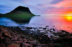 the midnight sun in Iceland.