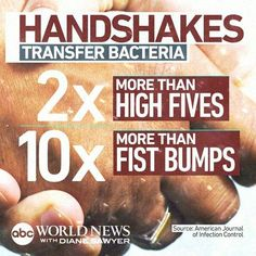 fist bump fact Diane Sawyer, Fist Bump, Infection Control, News Source, Always Remember, Facts, Learning, Flu, Studying