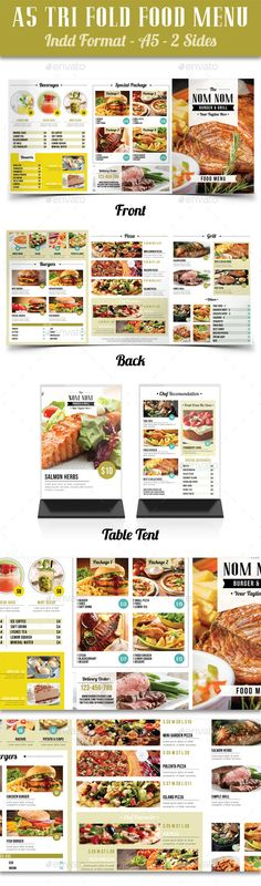 It is a tri fold food menu suitable for any kind of restaurant / cafe etc purposes with simple design. There's also included table tent on this package. For more details click on the link provided. :)