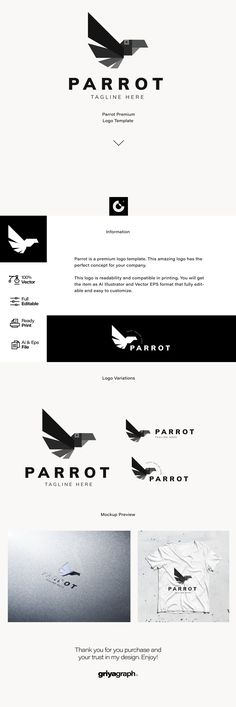 Parrot is a premium logo template. This amazing logo has the perfect concept for your company. This logo is readability and compatible in printing. Vector Format, Eps Vector, Vector File, Parrot Logo, Premium Logo, Ai Illustrator, Graphic Design Branding, Logo Templates, Concept