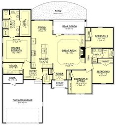 European Style House Plan - 3 Beds 2 Baths 2016 Sq/Ft Plan #430-138 Floor Plan - Main Floor Plan - Houseplans.com