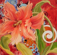 Items similar to Red Parrot Tulip Original Floral Painting - Carolynn Redwine Geer - Carolina Moon Designs on Etsy Parrot Tulips, Organic Art, Moon Design, Decoupage Paper, Abstract Flowers, Painting Inspiration, Flower Art, Flower Paintings, Painting Flowers