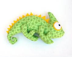 Plush toy Chameleon. Pattern. Sewing pdf pattern. Stuffed animal.  Great gift for dinosaurs and reptiles fan.  Unusual toy attracting attention