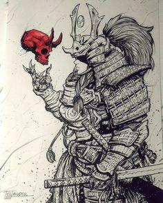 Onna Bugeisha inks illustration! ✍✒ #drawing #sketch #dailyart #sketchbook #samurai #japanese #japan #onnabugeisha #samuraiarmor #armor #fantasy #artwork #illustration #art #creative #skull #samuraiart #idea #warrior #design #inks #feudal #shogun #shogunate #artist #myart