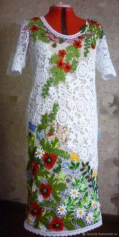 Купить Маковая полянка.Платье цветочное - ирландское кружево, нарядное, платье летнее, комбинированный, хлопок