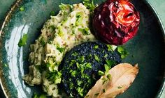Black pudding, red baked apples and celeriac mustard mash.