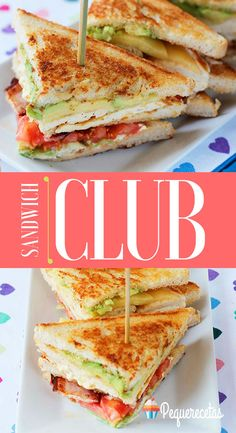 Chicken Club sandwich, step by step recipe - Club Sandwich, step by step recipe, The Chicken Sandwich Club is an easy recipe. Tee Sandwiches, Gourmet Sandwiches, Healthy Sandwiches, Sandwiches For Lunch, Delicious Sandwiches, Grill Sandwich, Club Sandwich Receta, Chicken Sandwich Recipes, Recipe For Club Sandwich