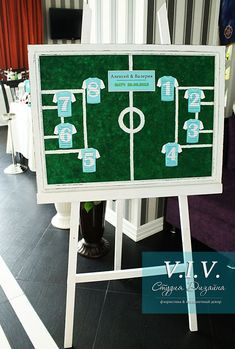 this looks too much like soccer, but set up like a football field might be cute sports weddings, sport themed wedding ideas Theme Sport, Soccer Theme, Football Themes, Soccer Party, Football Wedding, Sports Wedding, Football Field, Football Soccer, Seating Plan Wedding