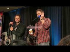 """jensenackles-daily: """" TheEricGoldman: """"I had a great time covering through the years, and I'll post more about that when the show actually concludes, but I always liked this photo I took. Supernatural Convention, Supernatural Seasons, Jared And Jensen, Jensen Ackles, Interview, In This Moment"""