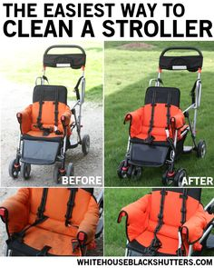 The easiest way to clean a stroller. It's non-toxic, takes 15 minutes, and minimal scrubbing! via @Ann Marie // white house black shutters