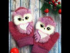 Owl Applique, Applique Patterns, Knitting Patterns, Crochet Gloves, Knitted Hats, Half Gloves, Fur Decor, Owl Artwork, Whimsical Owl