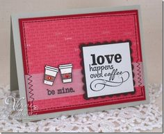Like the layout and use of vellum on this card. Love Happens Over Coffee  from Buttons & Bling by Mauree