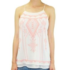 Arizona Racerback Sunset Top Beautiful Arizona Racerback top. Great with jeans, leggings, pants and cute sandals!  Pink embroidery  Double layer  Spaghetti straps   100% polyester.  See size chart for measurements Blu Pepper Tops
