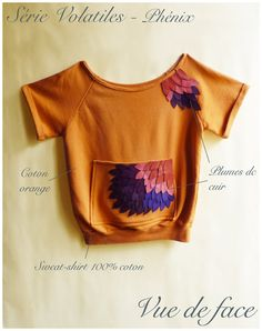 """Orange cotton sweat shirt embroidered with leather feathers """"Phenix"""" by LeBestiare on Etsy"""