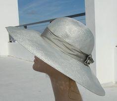 vintage gray women's  hats | Vintage Borsalino women grey like straw hat with brim