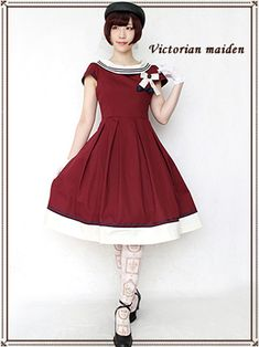 Victorian maiden | French Marine Boat Neck Dress