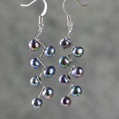 Pearl earrings black drop dangle fresh water by AniDesignsllc, $8.95