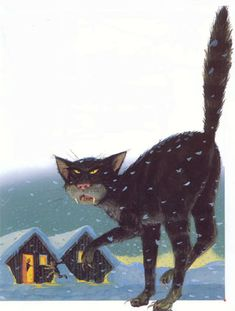The Icelandic Jólakötturinn (Christmas cat) is a monster from Icelandic folklore, a huge and vicious cat said to lurk about the snowy countryside during Christmas time and eat people who have not received any new clothes to wear before Christmas Eve. It's a bit unfair :-)