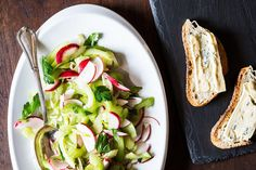 Light salad of celery, radish, parsley, and scallion, dressed with dijon, garlic and lemon. I added fennel! Serve with goat cheese and toasted country bread.