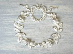 Large Wreath / Garland wood applique. Can't wait to refinish my boy furniture and add something girly like this