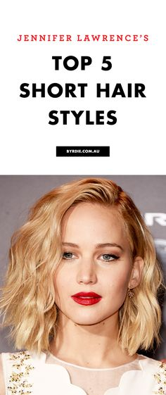 5 party season hairstyles for short hair, courtesy of Jennifer Lawrence