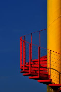 "PRIMARY CONTRAST Impulse by Eric ""Kala"" Forey, via steps stairs stairways red yellow spiral exterior Triad Color Scheme, Minimal Photography, Photography Aesthetic, Color Photography, Contrast Photography, Photography Flyer, Photography Kids, Underwater Photography, Abstract Photography"